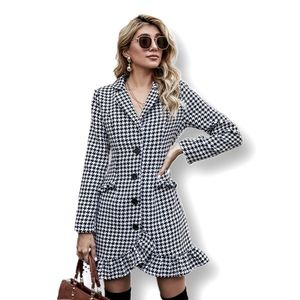 Sexy Cute Houndstooth Ruffle Hem Blazer Dress